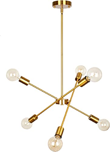 PUZHI HOME Sputnik Chandelier 6 Lights Modern Pendant Lighting Gold Chandeliers Industrial Vintage