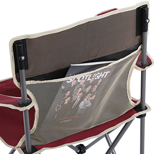 (Upgraded Version)Folding Quad Camp Chair,Portable Camp / Beach Chair Perfect For Beach, Camping, Backpacking, & Outdoor Festivals. Compact & Heavy Duty, Wine Red