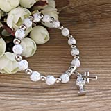 First Holy Communion Party Favor (12 PCS) Stretch Wood Bracelet with Silver Metal Chalice and Cross Charms/ Recuerdos para Primera Comunion Niña Niño/ Gift for Guests