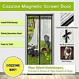 Magnetic Screen Door, Cozzine Heavy Duty Screen Mesh Door Curtain & Full Frame Velcro Fits Door Size up to 34''-82'' Max, Black