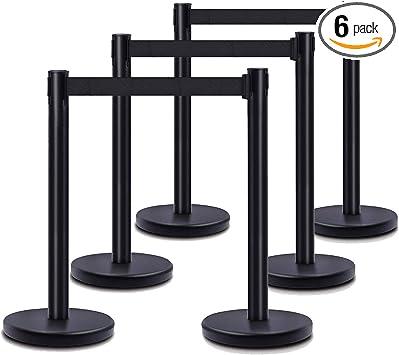 6PCS Stanchion Posts Queue Pole Retractable Belt Crowd Control Blue Belt Barrier