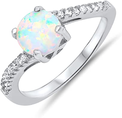 .925 Sterling Silver Womens Lab Created Oval Blue Opal Ring Cubic Zirconia Wedding Band Sizes 5-10