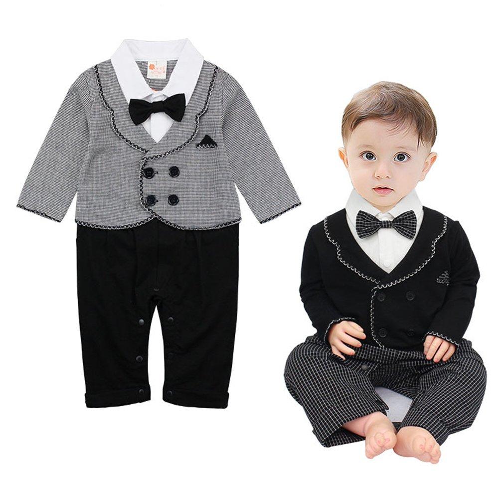 G-Kids Baby Jungen Strampler Gentleman Smoking Anzug Kleinkind Langarm Bekleidungsets Outfits Spielanzug Fliege Hochzeit Taufkleidung