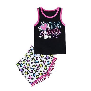 12f7e7e251b0 Amazon.com  WARMSHOP Girls Summer Clothing Set Jesus Love Me Letter Print  Sleeveless Vest Tops+Tassel Short Pants 2 Pc Clothes Outfits  Clothing