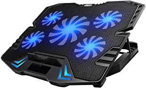 KEROLFFU Laptop Cooling Pad, Gaming 5Fans 15.6inch Laptop Cooler Stand Fan, Adjustable Foldable Long Stand, Fans/Lights Switch with dimmable-Speed, for MacBook Air Pro Dell XPS HP Alienware Notebook