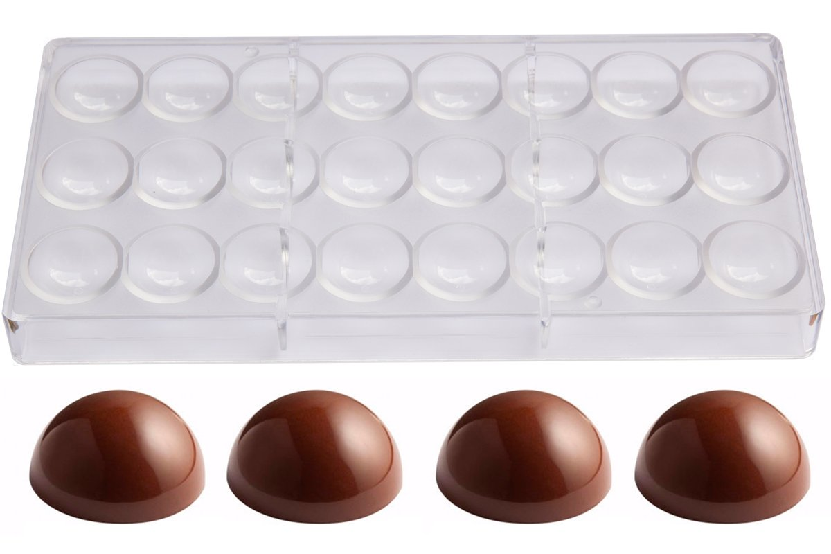 Polycarbonate Chocolate Mold by NuEmporia 24-Piece: Semi-Sphere Candy Shape. Food Safe, BPA-Free Polycarbonate Plastic. Easy To Release and To Clean