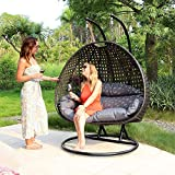 Island Gale Luxury 2 Person Wicker Swing Chair ((2 Person) X-Large, Charcoal Rattan/Charcoal Cushion)