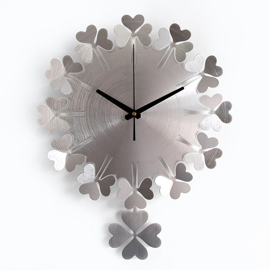 掛け時計 ウォールクロックモダンミニマルアートクォーツ時計リビングルームベッドルームミュートファッションクリエイティブラウンドウォールクロックリビングルーム Rollsnownow (色 : グレー) B07BK3LLBL グレー グレー
