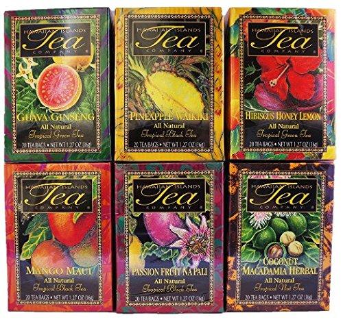 Hawaiian Islands Tea Company Tropical Tea Assortment, 20 Count, Net Wt. 1.27 Ounce (Pack of 6) ()