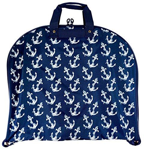 [Ever Moda Hanging Garment Bag, Nautical Navy Blue Anchor (40-inch)] (Dance Costumes Uniform)