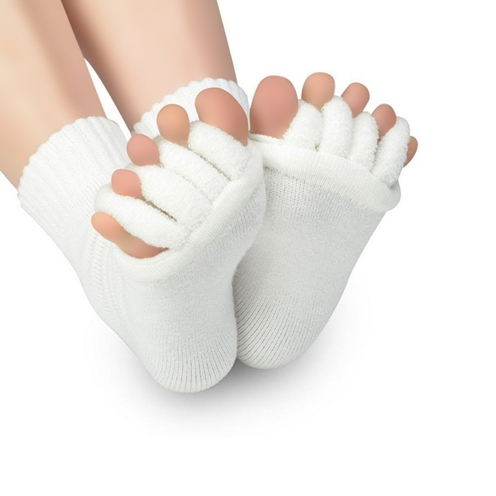 Amazon.com : 2 Pair White - Sirosky Toes Alignment Socks Massage foot Feet Toe Align Separator Socks Prevent Foot Cramps, Hammertoes, Bunions, etc : Sports ...