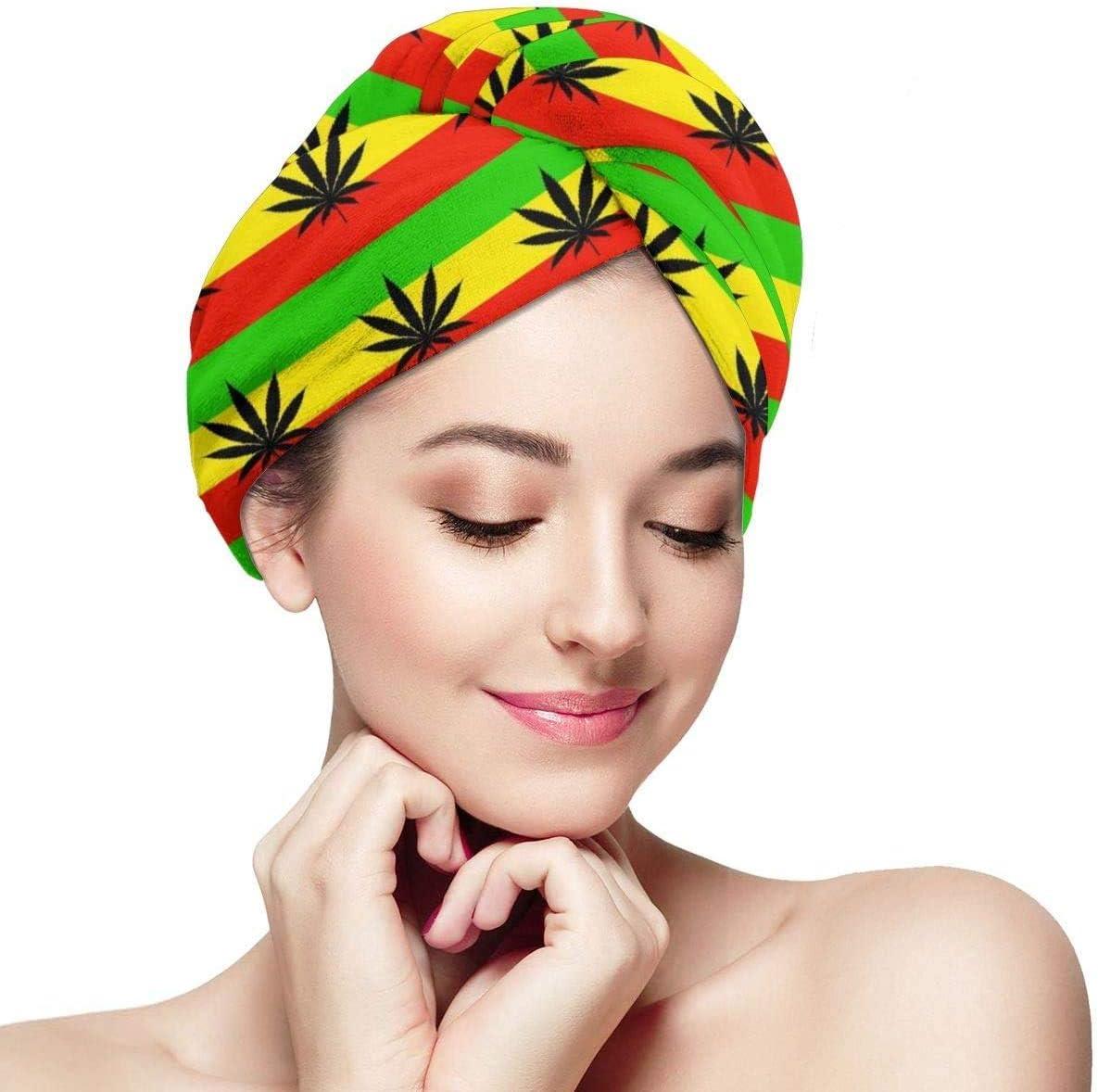 Marihuana Leaf Flags Cannabis Weeds Mujeres Toalla para el Cabello Anti Frizz Ultra Absorbent Dry Hair Hat Secado Rápido Ducha Cabello Turbante para Secar el Cabello Mojado