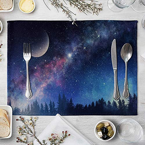 memorytime Night Starry Sky Linen Placemat Kitchen Dining Table Mat Bowl Pad Coaster Decor Kitchen Dining Supplies - 9# by memorytime (Image #9)
