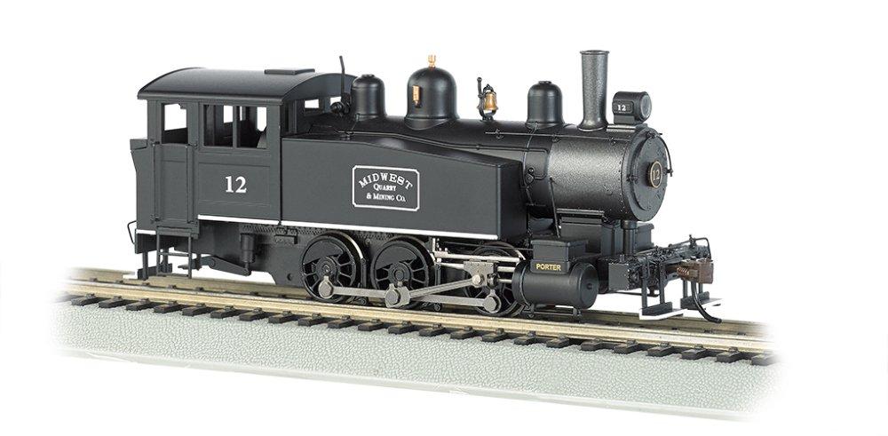 Porter 0-6-0T Side Tank w/DCC -- Midwest Quarry & Mining #12 (black, graphite) BACHMANN