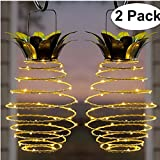 Garden Solar Lights,Solar Hanging Pineapple Outdoor Lantern,Solar Led Warm Fairy String for Patio Path Home Décor Lighting .(2-Pack)