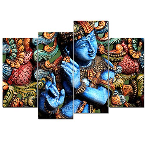 LevvArts - Lord Krishna Wall Art,Religion Painting for Modern Home Office Decor, Act with Compassion,Tenderness and Love,Framed Art Ready to Hang (Beautiful Images Of Lord Krishna And Radha)