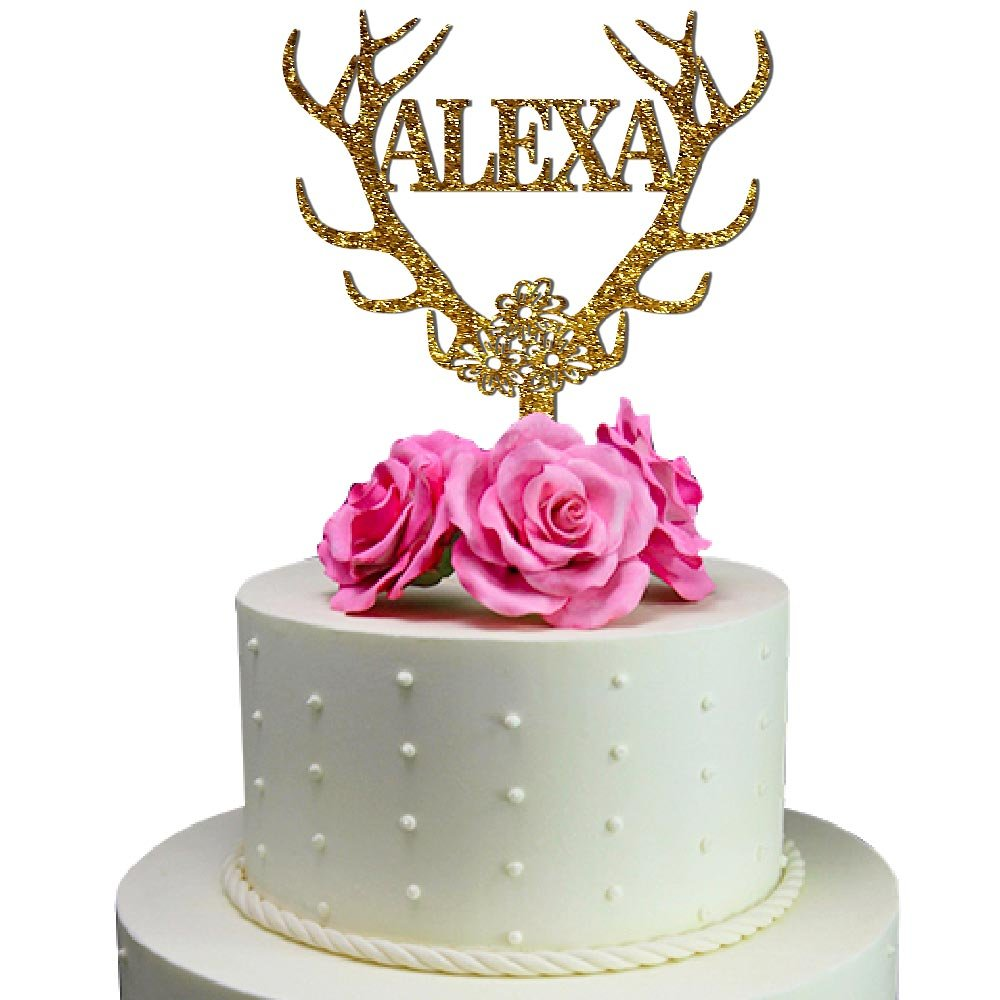 Amazon.com: Personalized Antler Cake Topper Customized Name Birthday ...