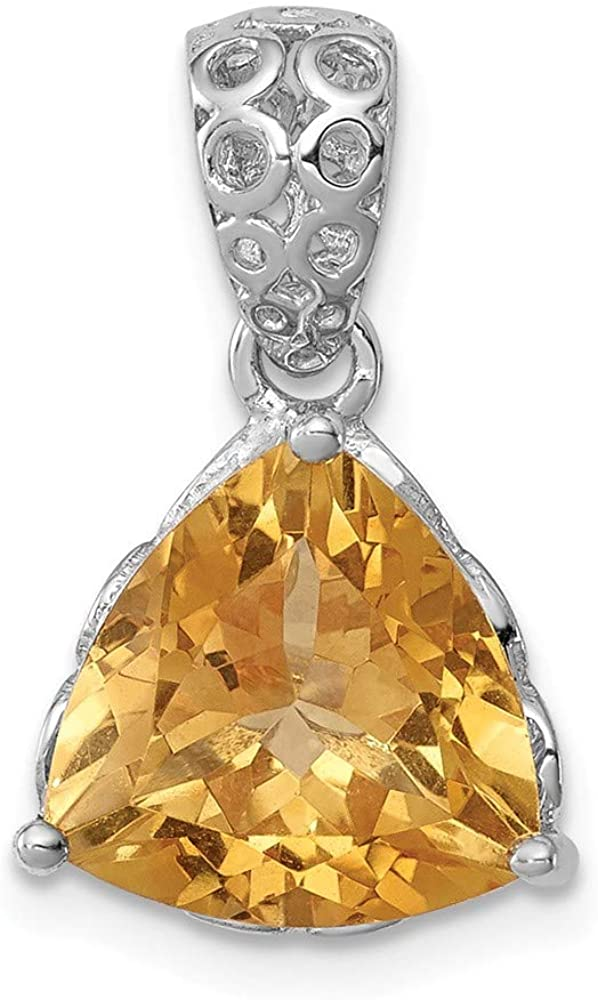 925 Sterling Silver Rhodium Plated Citrine Pendant