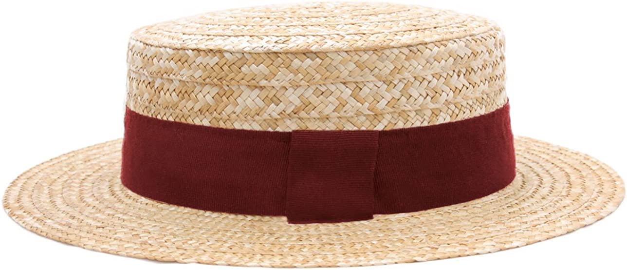 Classic Italy Guinguette Boater Hat Gondolier Straw Size 51 cm 88-Sangria