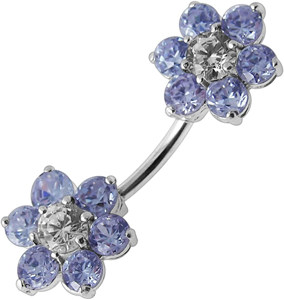 PiercingPoint CZ Stone Double Big Flower Spinal Silver Belly Ring Body Jewelry