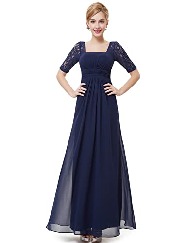 Ever Pretty Half Sleeve Square Neckline Ruched Waist Evening Dress 08038