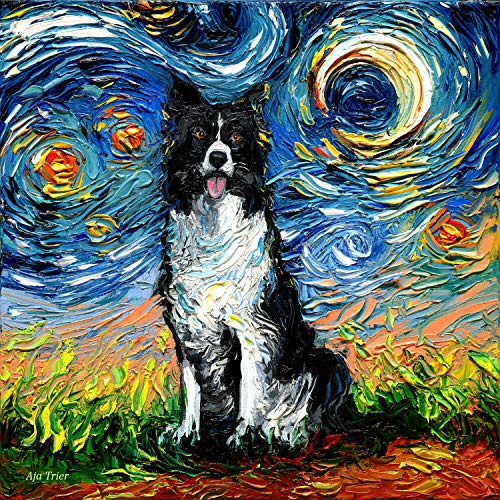 Starry Night Border Collie Art by Aja choose size and type of paper