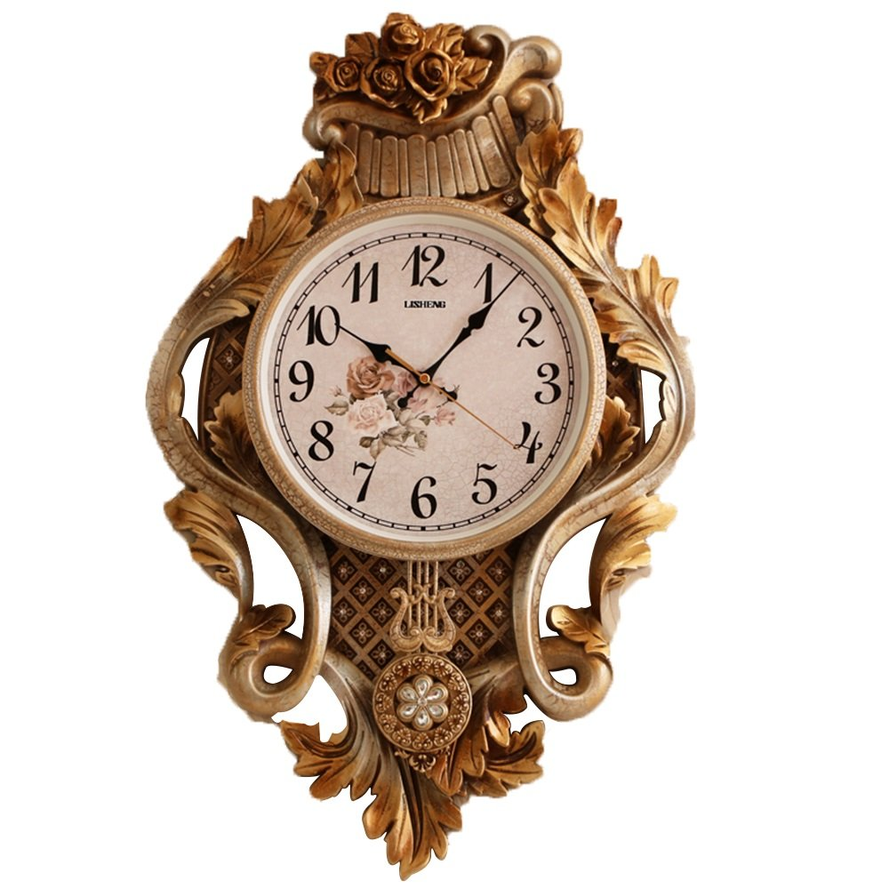 GDXRB クラシックウォールクロック振り子時計、ヨーロッパのレトロ家のリビングルームサイレントクォーツ時計(2単3電池を除く) (Color : B) B07DCYGK95 B B