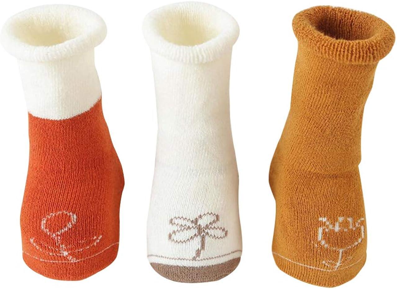 DEBAIJIA 3 Pares Calcetines Gruesos para Bebés Calcetines lindos de Algodón Antideslizante para Niños y Niñas de 0-5 años Vistoso Cálidos y Cómodos Calcetines de Invierno
