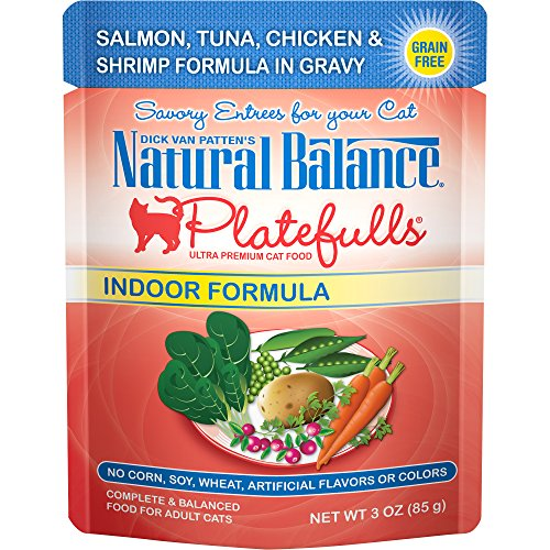 Natural Balance Platefulls Grain Free Indoor Cat Food, Indoor Salmon, Tuna, Chicken and Shrimp Formula in Gravy, 3-Ounce Pouches (Pack of 24)