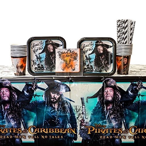 Pirate Party Table Cover (Pirates of the Caribbean Party Supplies Pack For 16 Guests: Straws, Dessert Plates, Beverage Napkins, Cups, and Table Cover (Bundle for 16))