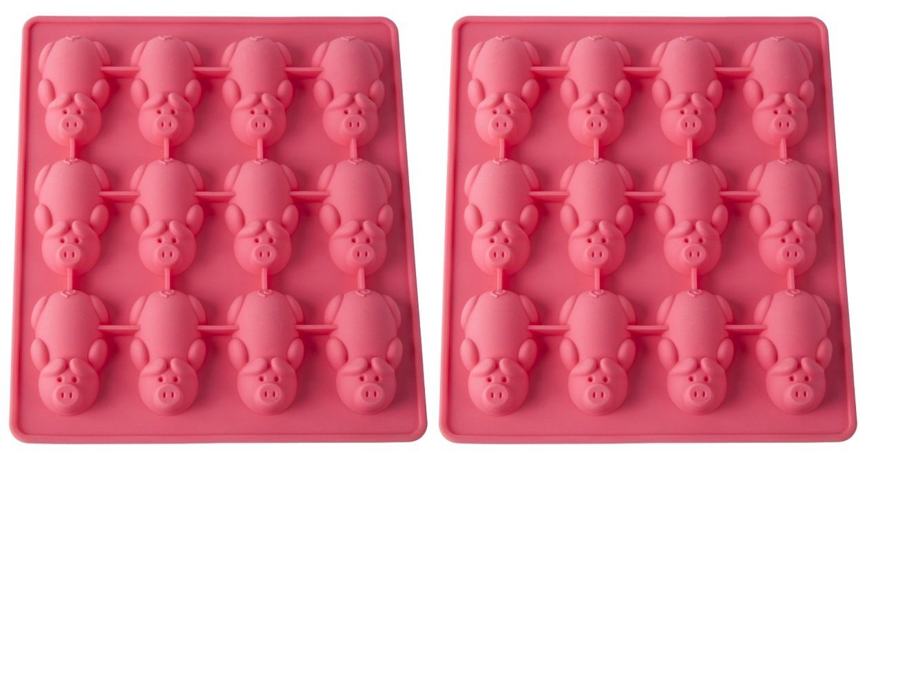 Mobi 12 Little Pigs in a Blanket Silicone Baking Mold, Pink, Set of 2