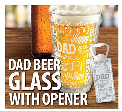 KOVOT DAD Sentiments Beer Glass & Bottle Opener Set - Great Gift For Dad | Father's Day Gift by Kovot