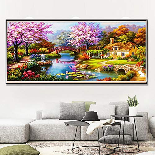 BYyushop Diamond Painting 88x40cm House Bridge Scenery Full Square Resin Cross - Cross Stitch Scenery