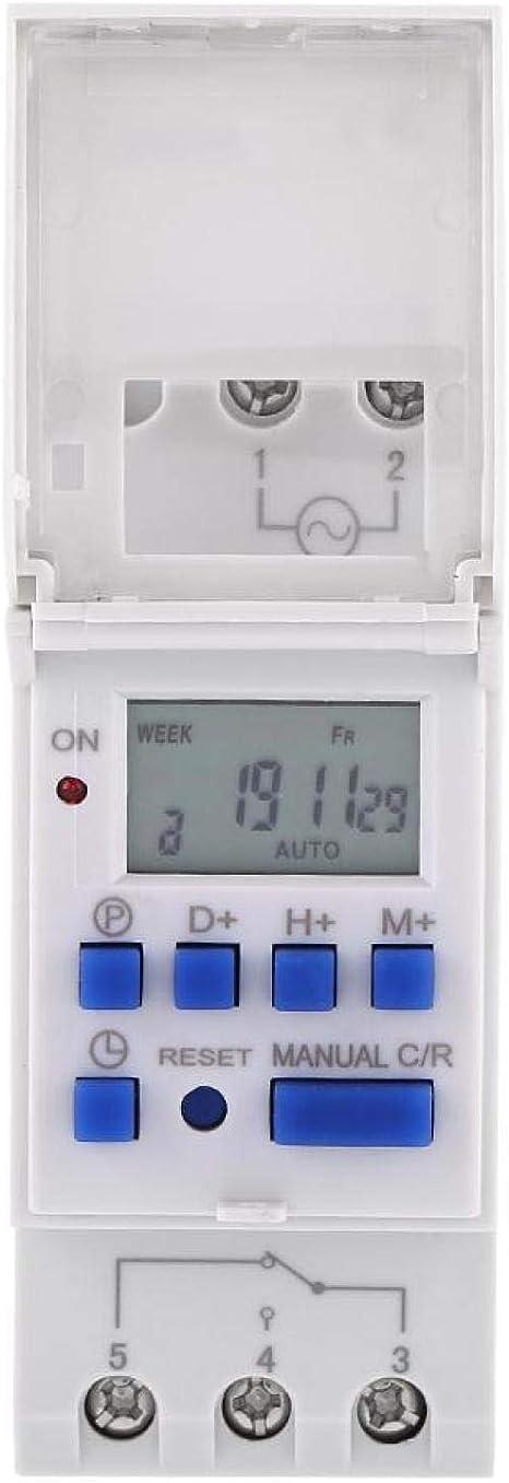 temporizador de interruptor electr/ónico con programas totales diarios y semanales 16 programas de conmutaci/ón montaje en riel superior 110V Temporizador digital semanal con pantalla LCD