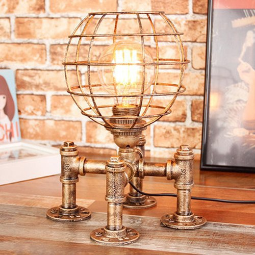 Wsxxn Industrial Vintage Steampunk Metal Water Tube Desk Light Fixture Personality Hollow Iron Spherical Lampshape Table Lamp for Bedroom Bedside Living Room E27 Desk Lamp (Color : Gold)