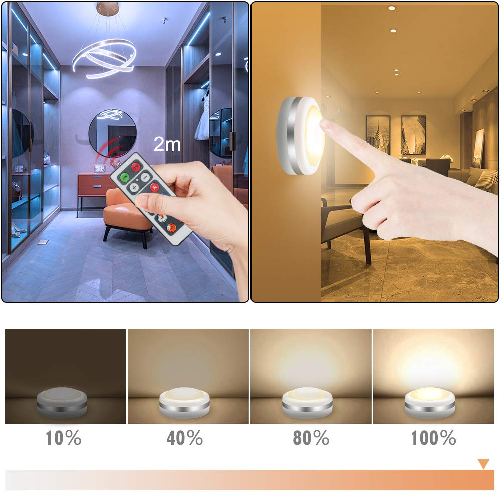 Puck Lights with Remote Control Kitchen Battery Powered Stick On Dimmable Closet Lights with Timing Function Bawoo 6 Pack RGB Wireless Under Cabinet Lighting 10 Brightness for Stairs Office