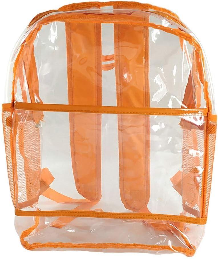 IENPAJNEPQN Femmes Transparent Sac à Dos d'été en PVC Transparent Sac de Plage Sacs Haute école de qualité for Les Adolescentes Mochila Feminina Big (Color : Red) Orange