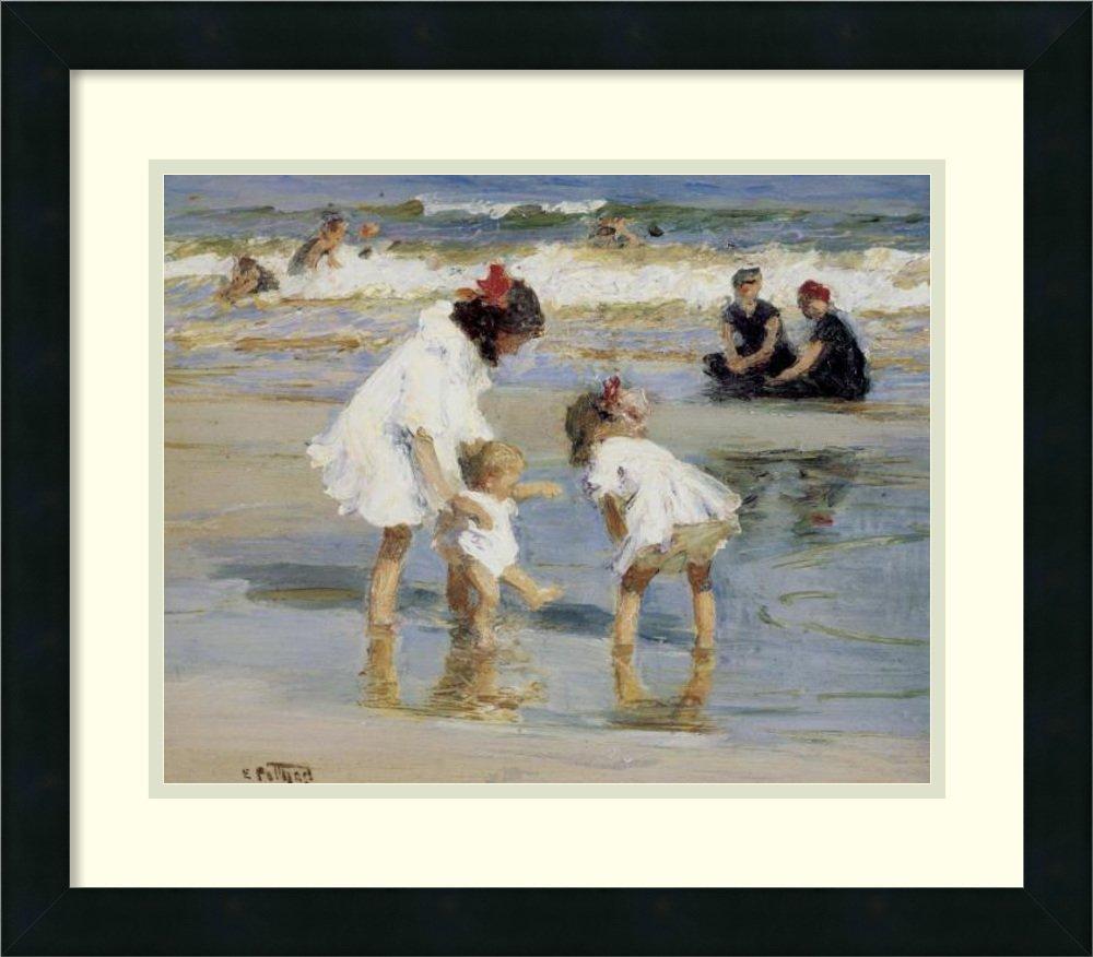 Framed Art Print 'Children Playing at the Seashore' by Edward Henry Potthast