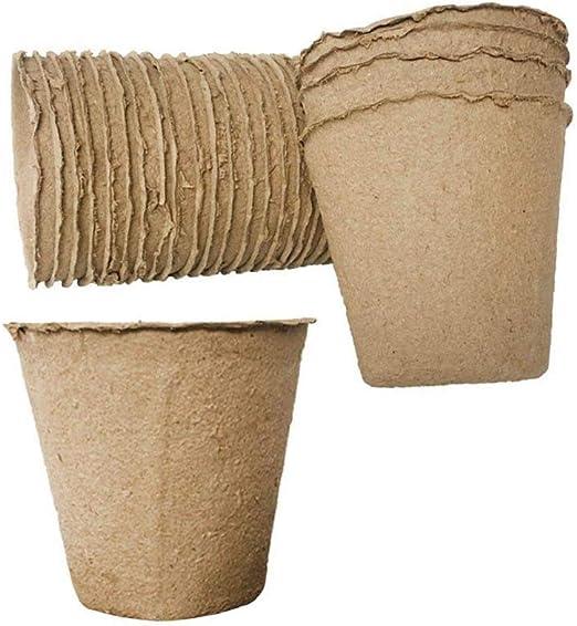 Bandeja redonda de papel biodegradable para macetas de 8 x 8 cm ...