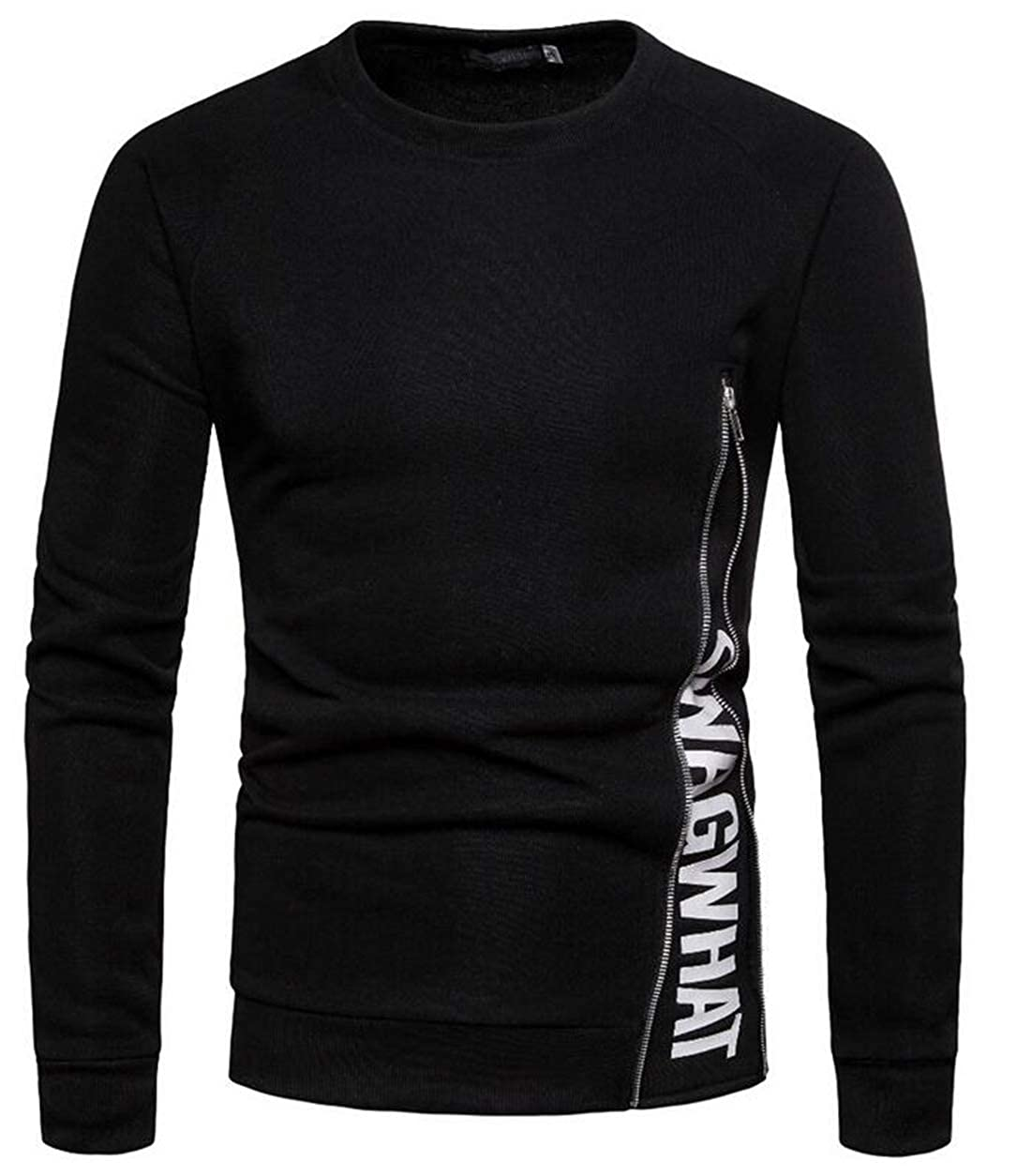 Rrive Mens Stylish Patchwork Camo Flap Pockets Raglan Sleeve Round Neck Pullover Sweatshirt