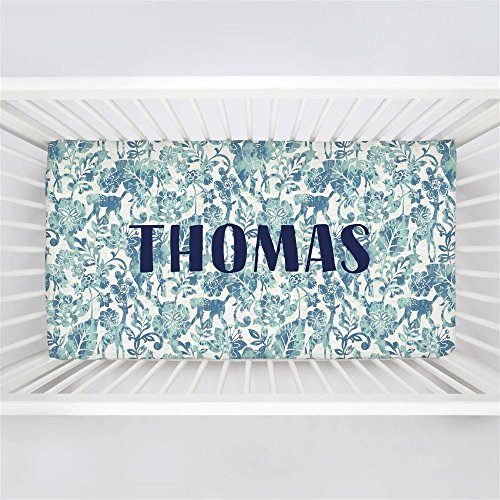 Carousel Designs Personalized Custom Denim and Mint Jungle Crib Sheet Thomas Idea - Organic 100% Cotton Fitted Crib Sheet - Made in The USA