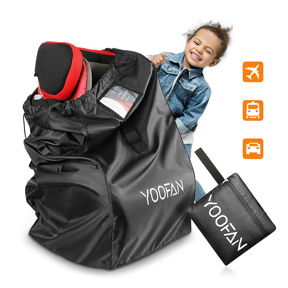 YOOFAN Car Seat Travel Bag for Airplane, Gate Check Bag with Backpack Shoulder Straps, Handle Strip, Luggage ID Window for Universal Stroller, Boosters and Infant Carriers, Waterproof, Black by YOOFAN