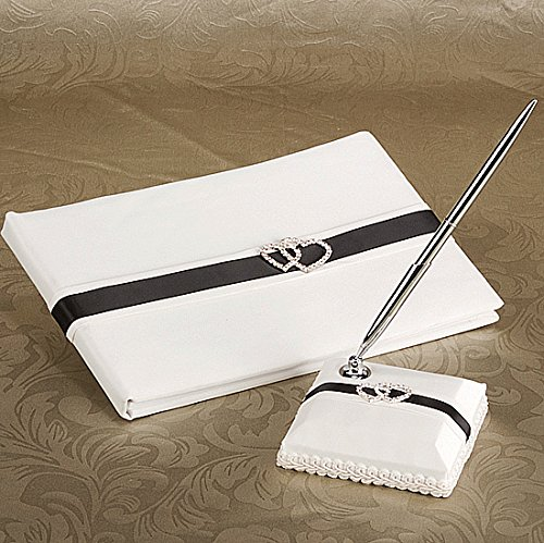 KateMelon Classic Double Heart Wedding Guest Book Set in Black and White by KateMelon