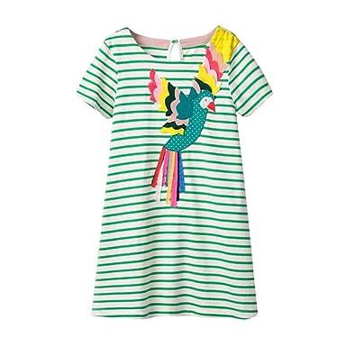 2e16078a9 Amazon.com: Toddler Kids Girls Short Sleeve Shark Fish Bird Stripe T-Shirt Dress  Clothes 1-5T White: Clothing