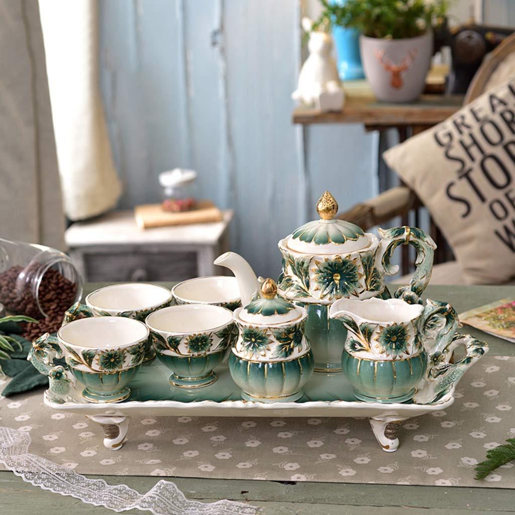 CSQ Coffee Cup Afternoon Tea Set, Ceramic Coffee Pot Household Eight-Piece Tea Set Scented Tea Teapot Capacity: 1050ml Afternoon Tea (Color : Green) by Tea set-CSQ (Image #3)