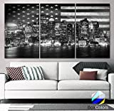 """Original by BoxColors XLARGE 30""""x 60"""" 3 Panels 30""""x20"""" Ea Art Canvas Print Flag USA Boston Skyline night Black & White Wall Home Office decor interior ( framed 1.5"""" depth) offers"""