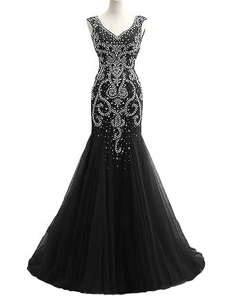 Dressesonline Womens Mermaid Formal Evening Dresses 2018 Luxury Beaded Prom Dress US2
