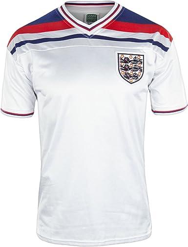 Camiseta oficial de selección de fútbol de Inglaterra, para hombre, Copa del Mundo de 1982: Amazon.es: Ropa y accesorios
