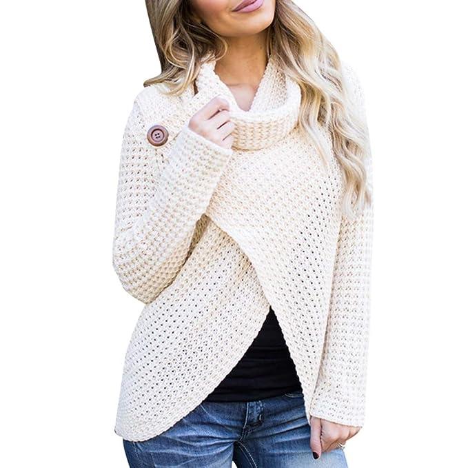 4c91d7c406e5 WanYangg Sueter Cuello Alto Mujer Otoño Invierno Elegante Gordo Jerseys De  Punto Suéter Pullover Manga Largo Anchos Casual Color Sólido Sweater:  Amazon.es: ...