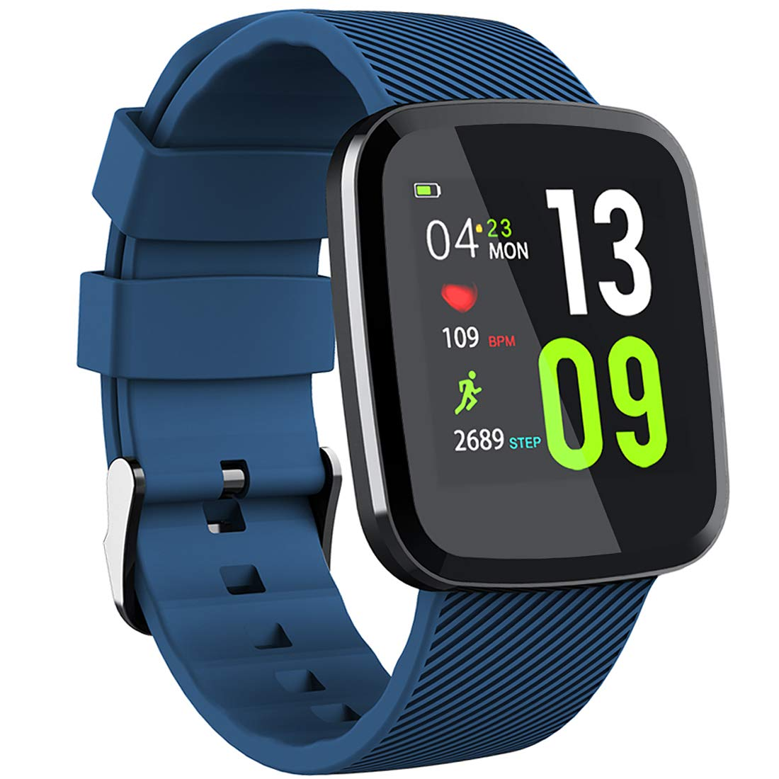 Touchscreen Fitness Tracker, Slim Waterproof Heart Rate Smart Watch, Swimming Running Cycling Sport Wristband,Blue
